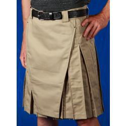 Men's Khaki Kilt w/Gunmetal Rivets