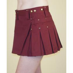 Burgundy MiniKilt w/Antique Brass Rivets