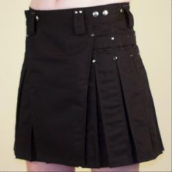 Women's Black Kilt w/Gunmetal Rivets