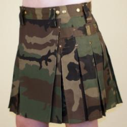Women's Camo Kilt w/Antique Brass Rivets