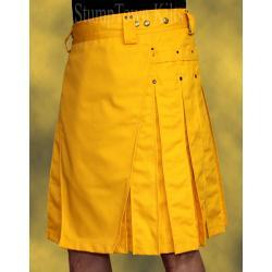 Men's Yellow Kilt w/Antique Brass Rivets